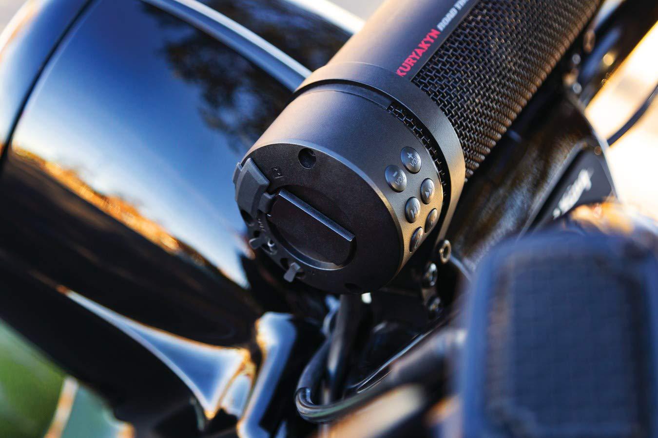 USB Power Charger Kuryakyn 2720 MTX Road Thunder Weather Resistant Motorcycle Sound Bar Plus 300 Watt Handlebar Mounted Audio Speakers with Bluetooth Satin Black