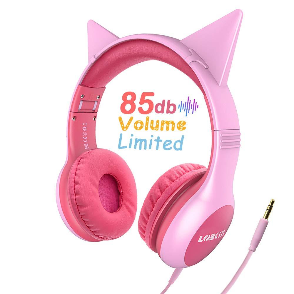 LOBKIN Stereo Kinder Kopfhörer, Foldable Kind Leicht Headphone mit Volume Limited Ear Protection, Abnehmbare Katze Ohr Baby Kopfhörer, Tolles Geschenk für Kinder (Rosa)