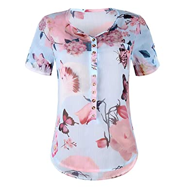 e8b6cebea12 Button Down Plus Size Tops Casual Floral Printed Chiffon Blouse for Women  Casual Short Sleeve Tunic