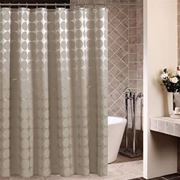 Dot Print Polyester Fabric Shower Curtain,Bathroom Curtains With Hooks  72X72INCH, Brown Color