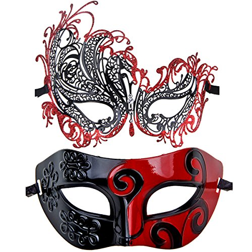 ECOSCO Couple Masquerade Mask Women Men Mardi Gras Venetian Ball Mask (Black-Red+Black-Red 3)]()