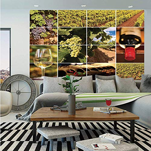 SoSung Vineyard Huge Photo Wall Mural,Vineyard Landscapes Purple Grapes French Bottle Glass Rustic Cellar Couples,Self-Adhesive Large Wallpaper for Home Decor 100x144 inches,Green Red Brown