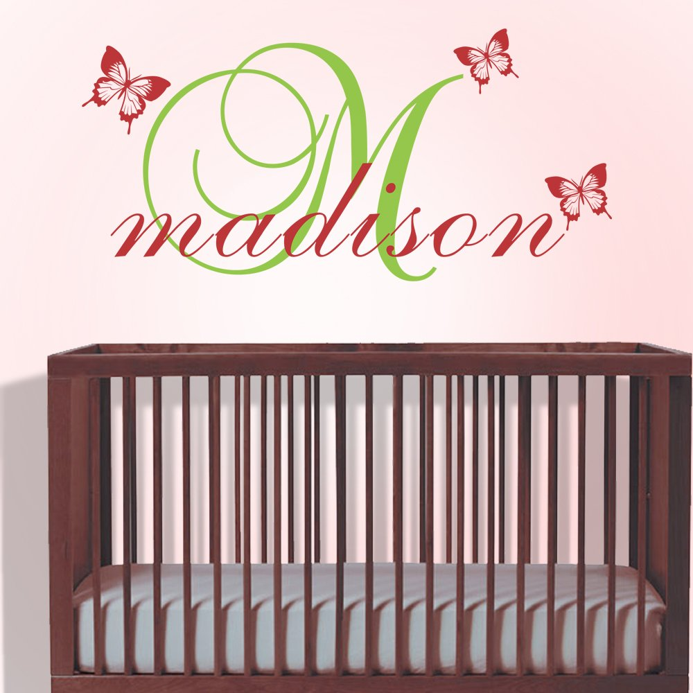Nursery Wall Decal Initial Custom name Quote Monogram Wall Sticker Personalized Decal Vinyl Butterfly Wall Decals Home Art Decor WallsUp