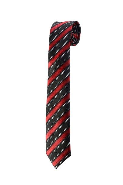 Corbata Fine Slim de rayas rojo negro Color blanco diseño boda Oh ...