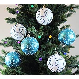 Sleetly Shatterproof Christmas Ornaments, Winter Swirl, 3.15 inches, Set of 12