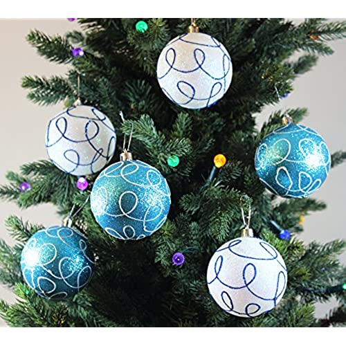 festive season winter turquoise swirl shatterproof christmas ball ornaments tree decorations set of 6 80mm - Blue Christmas Decorations