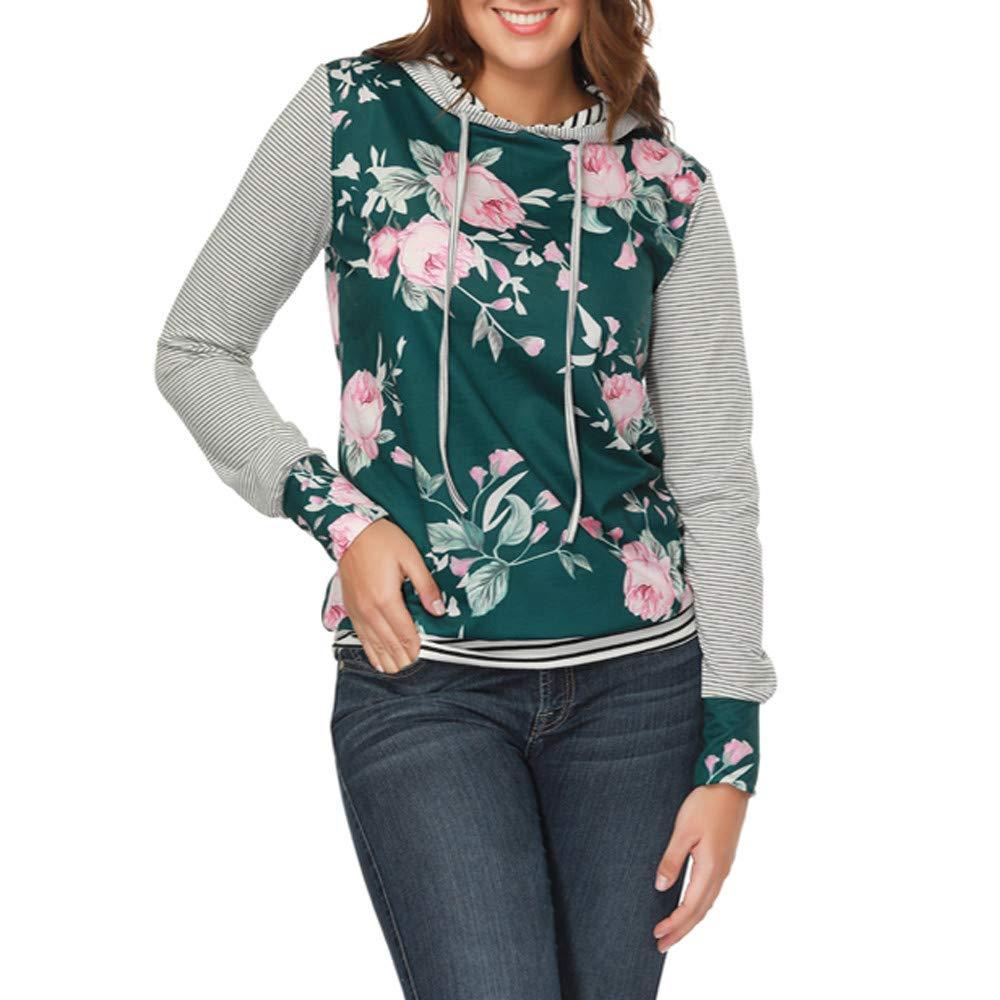 YANG-YI Claerance Womens O Neck Stripe Print Long Sleeve Causal Hooded Top Blouse Sweater