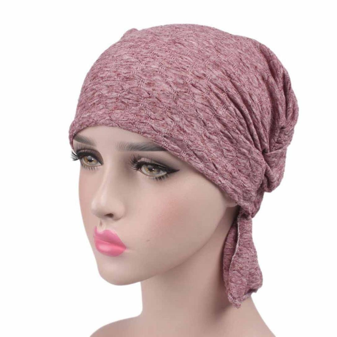 Matoen Women Hat Beanie Scarf Turban Head Wrap Cap for Chemo, Cancer Patients Cancer Patients (Blue)