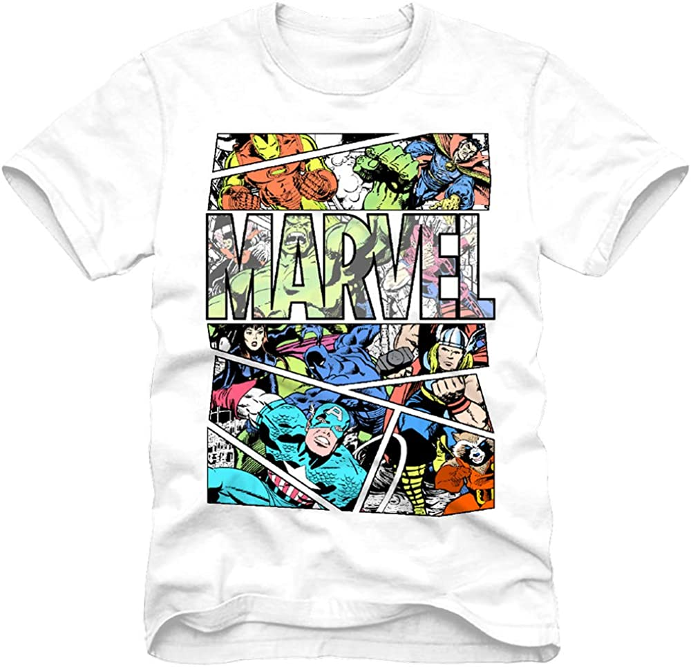 Marvel Mens Comics Group Shirt - Spiderman, Ironman, Captain America & Hulk Tee - Throwback Classic T-Shirt