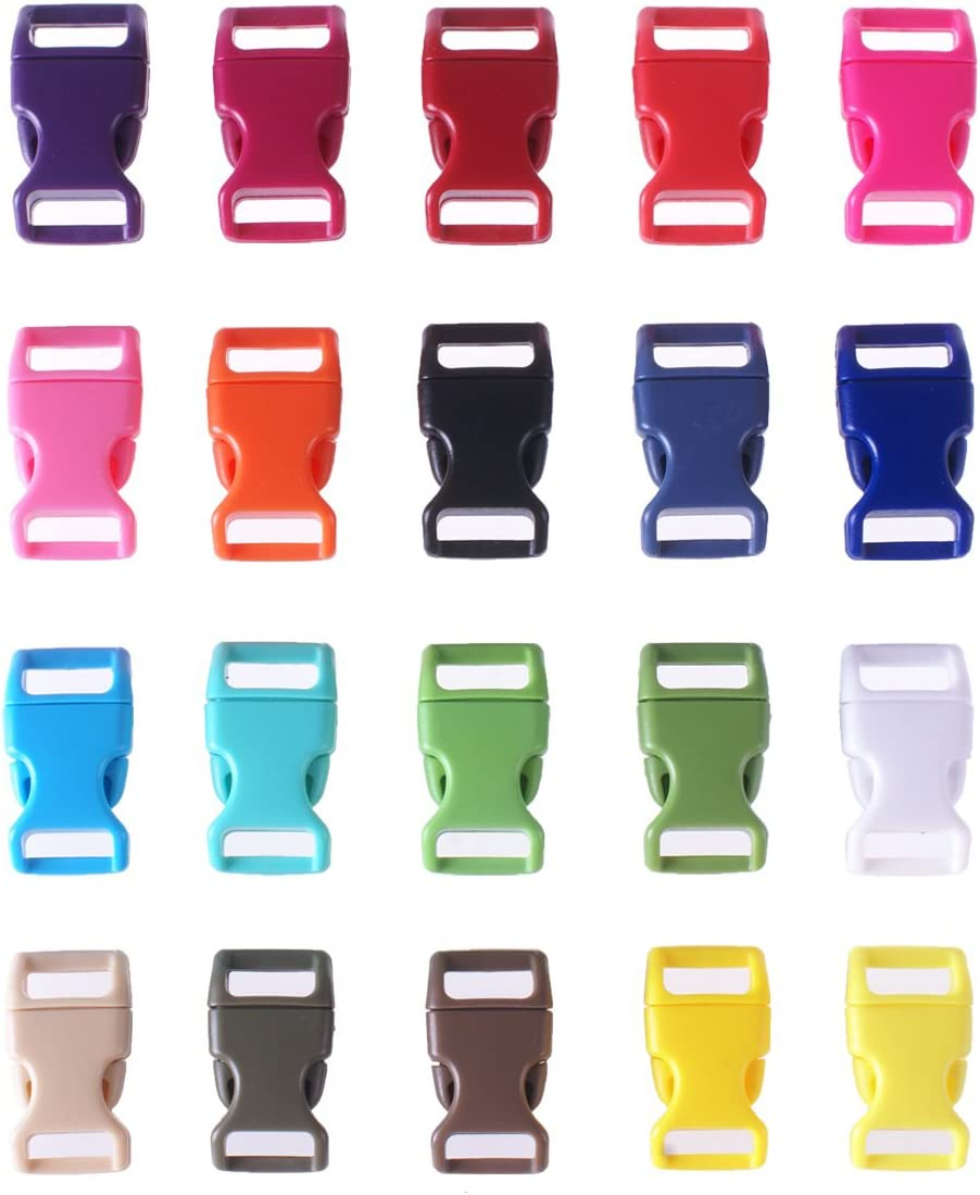 30 Piezas Colores Surtidos Banda Lateral contorneada Mini Hebillas pl/ásticas 3//8 Pulgadas HONGCI 1Pack 101Ft Cuerda Paracord Color Arco Iris Cable Paraca/ídas Cuerda de Nylon al Aire Libre