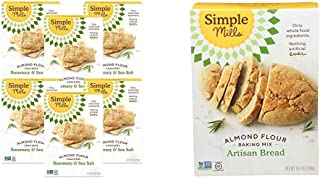 product image for Simple Mills Almond Flour Crackers, Rosemary & Sea Salt, Gluten Free, Flax Seed, Sunflower Seeds, 6 Count & Almond Flour Baking Mix, Gluten Free Artisan Bread Mix, Made with whole foods
