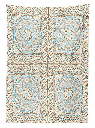 Antique Decor Tablecloth Mosaic Tile Design with Floral Elements Twists and Multi-Colored Circular Pattern Dining Room Kitchen Rectangular Table Cover Cream Brown (Brown Cream Zebra)