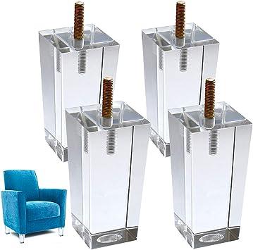 4 X Patas De Cristal De Repuesto Para Sofa Cama Elevador De Pies