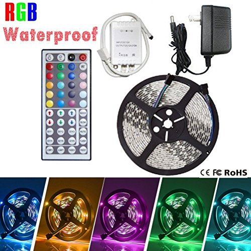 Strip Lights, LED Strip Lights, eBoTrade 5M/16.4 Ft SMD 3528 RGB 300 LED Color Changing Kit LED Ribbon DIY Christmas Holiday Home Kitchen Car Bar Indoor Party Decoration