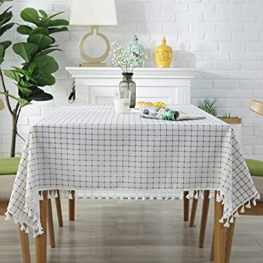 ColorBird Checkered Tassel Tablecloth Cotton Linen Dust-Proof Table Cover for Kitchen Dinning Tabletop Decoration (Rectangle/Oblong, 55 x 86Inch)