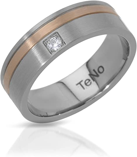 VS1 Diamond Band Ring Ring Size 6.5. Teno Stainless Steel 0.04 CTW Color F