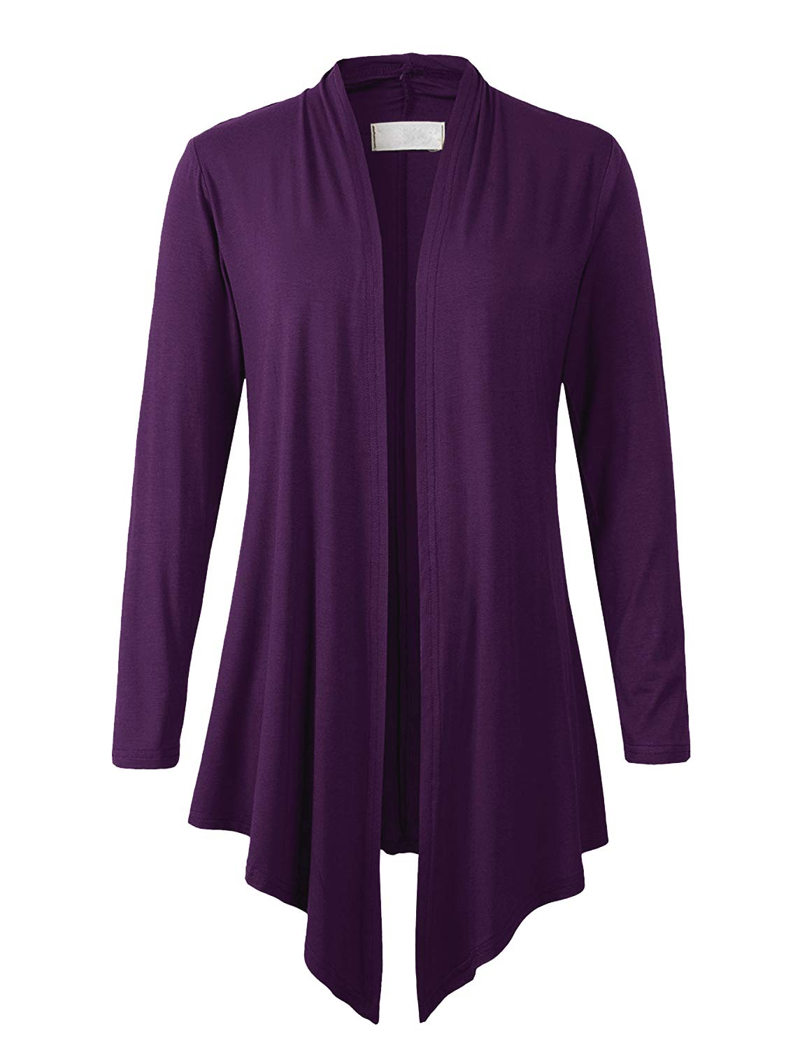 Eanklosco Women's Long Sleeve Drape Open-Front Cardigan Light Weight Irregular Hem Casual Tops (L, Purple)