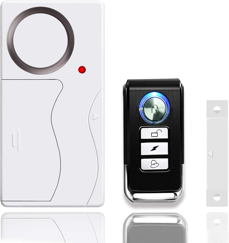 NineLeaf Wireless Door Alarm with Remote, Anti-Theft Window Alarms, Contact Sensor Alarm, Pool Door Alarm, Entry Chime,Apartment Alarm,Fridge Door Open Alarm for Kid Safety(Pack of 1)