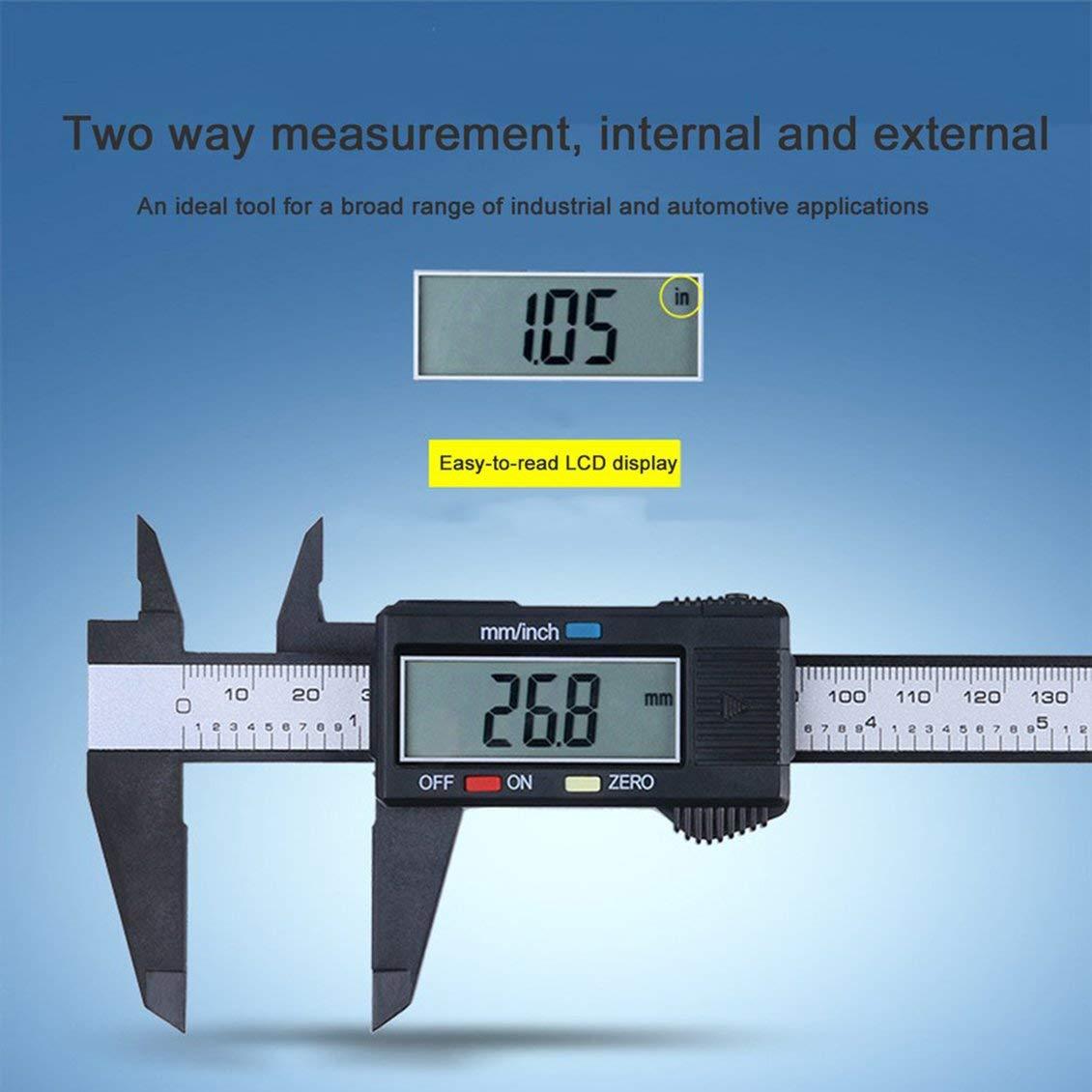 Negro Fibra de carbono Composites Calibrador digital LCD Calibrador de 0-150 mm Medici/ón Herramienta de medici/ón Regla de calibrador con conversi/ón de pulgadas a mm