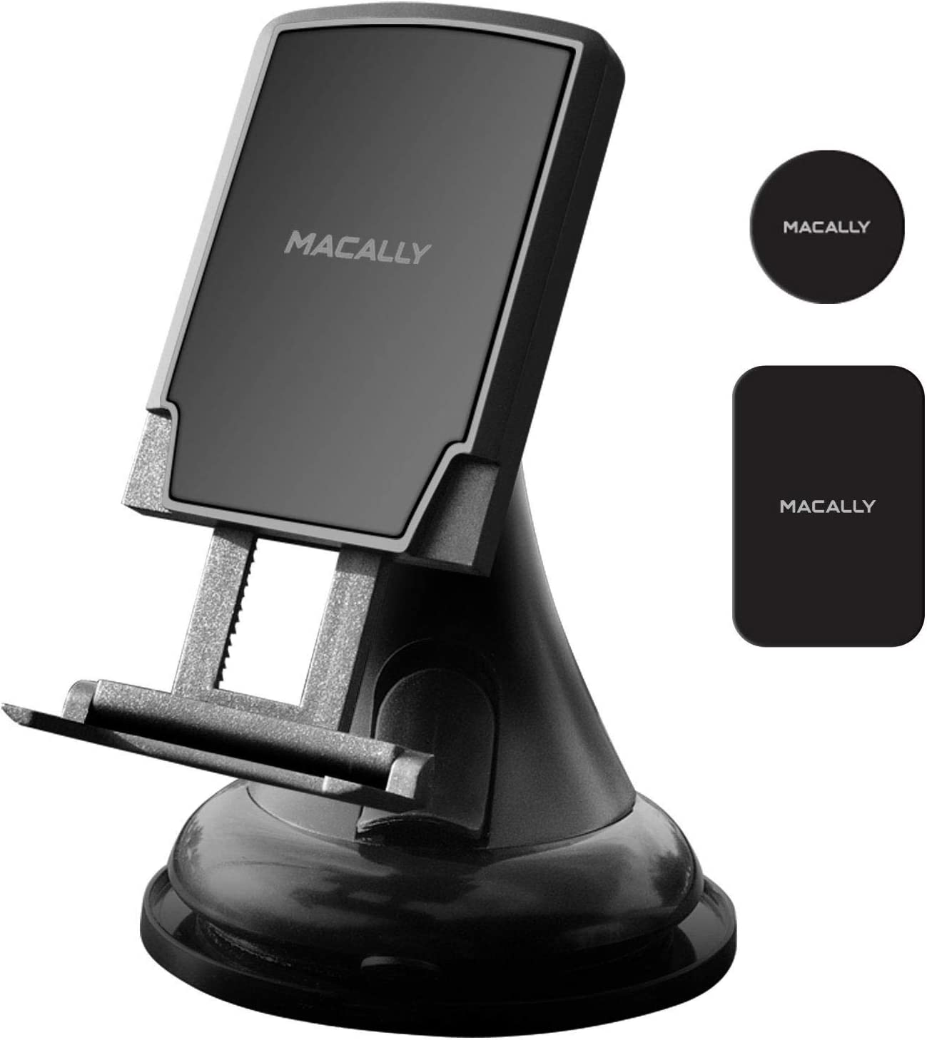 Macally Universal Dashboard/Windshield Magnetic Car Mount Phone Holder with Super Strong Magnet & Support Feet for iPhone X 8 8 Plus 7 7+ 6s 6 SE Samsung Galaxy S9 S9+ S8 S7 S6 Note etc. (MGRIPMAG)