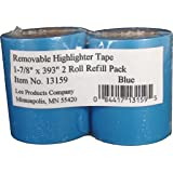 "Lee Removable Highlighter Tape, 1-7/8"" Wide x 393"" Long, 2-Roll Refill Pack, Blue (13159)"