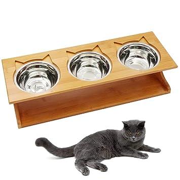 Amazon.com: Petilleur - Cuencos de madera para mascotas con ...