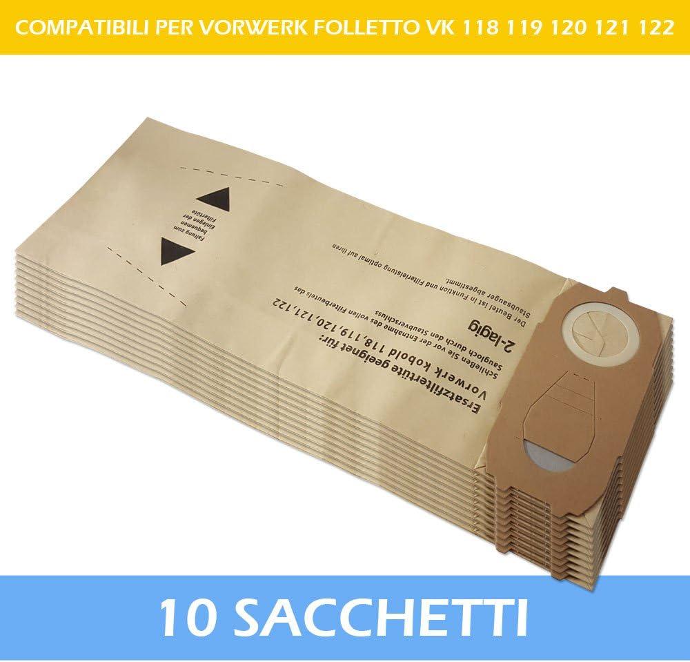 VK120 VK118 120 119 121 VK119 VK121 VK122 122 10 Sacchi // Sacchetti per aspirapolvere Vorwerk Folletto Kobold VK 118