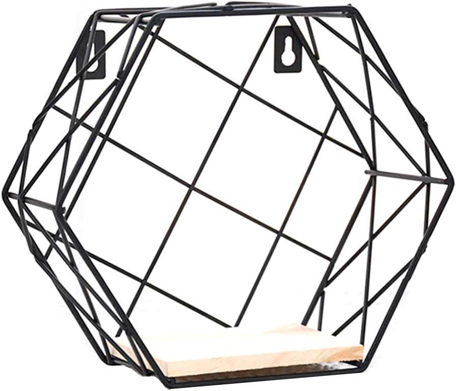 Forgun Estante Hexagonal de Hierro, Estilo artístico, estantería de Pared para Colgar en la Pared, Estante de Almacenamiento para Sala de Estar o decoración del hogar