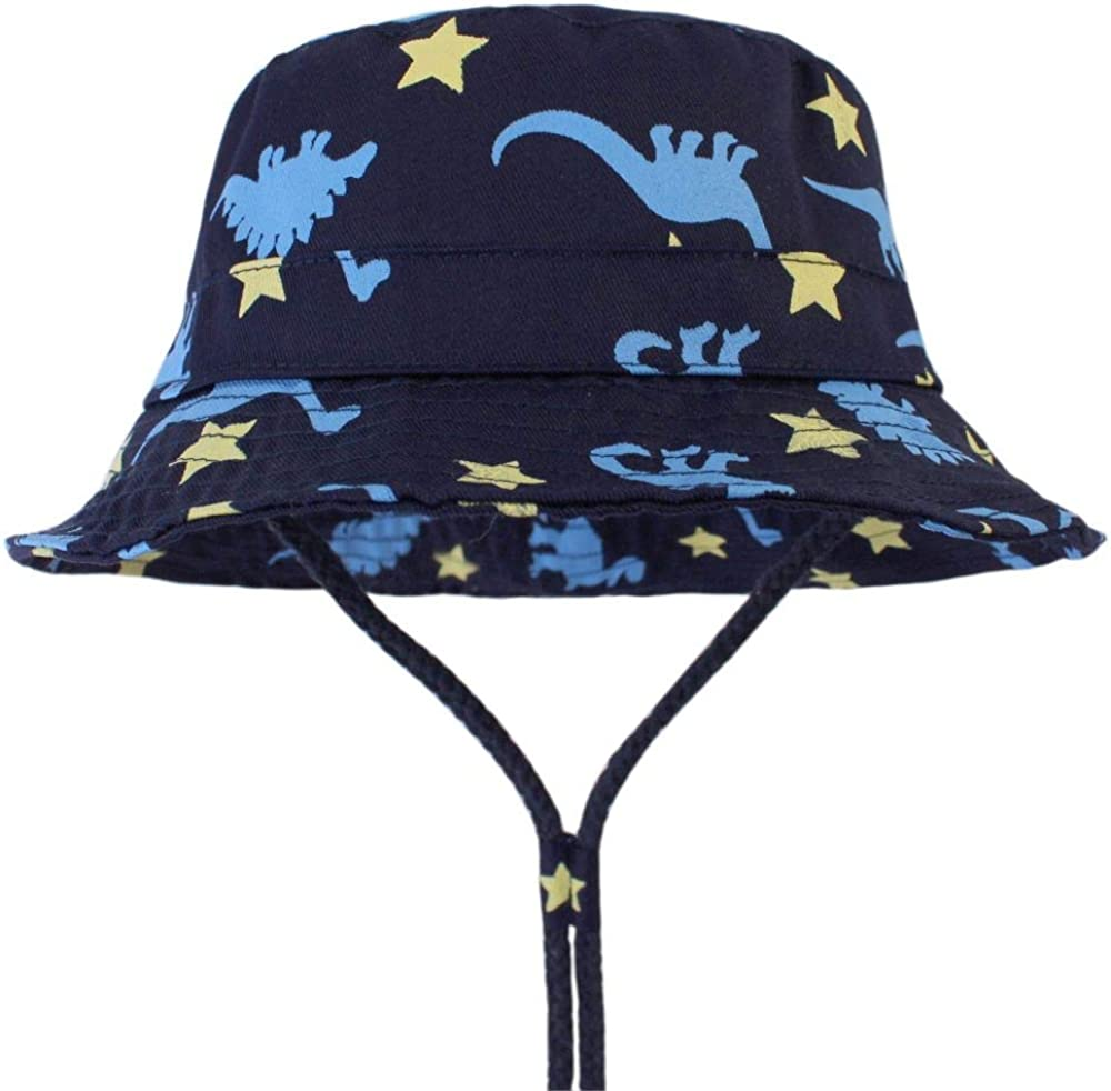 LLZ.COQUE Kids Baby Boy Sun Hat Bucket Hats Cute Dinosaures Soft 100/% Cotton with Adjustable Chin Strap