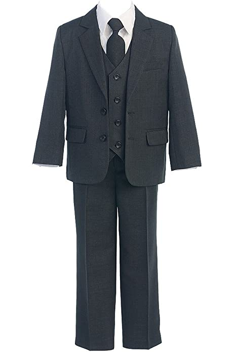 Sweet Kids Big Boys Navy Button Jacket Vest Shirt Tie Pant Suit 8-20 Husky