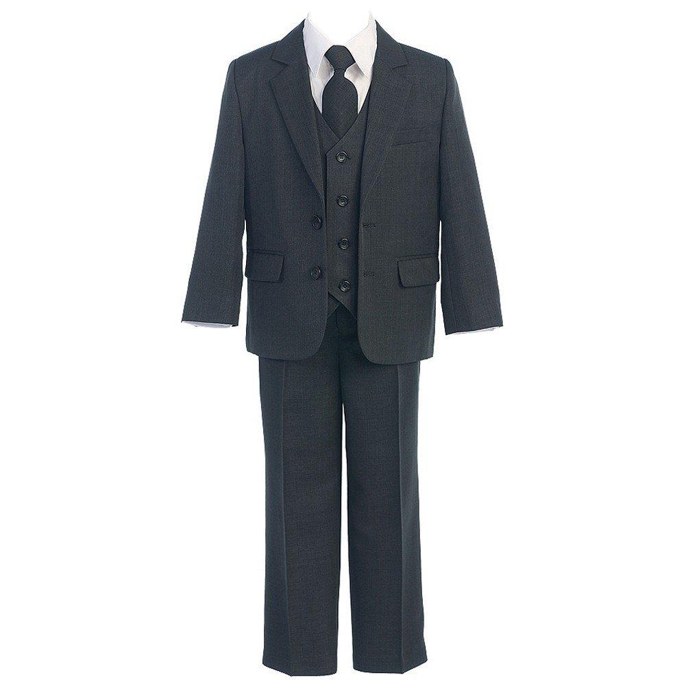 Sweet Kids Big Boys Charcoal Button Jacket Vest Shirt Tie Pant Suit 8-20 Husky
