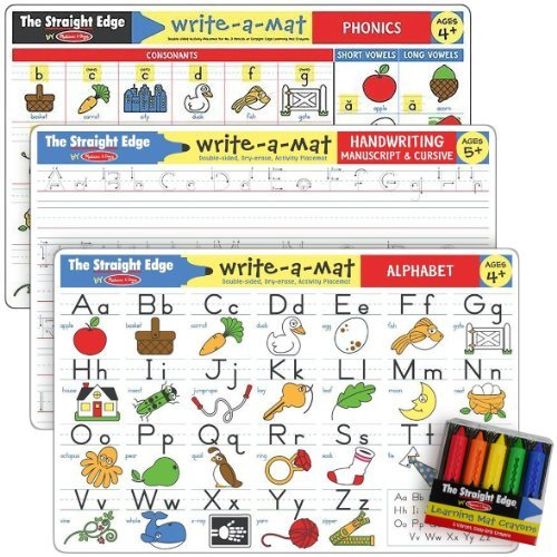Letters & Words Write-a-Mat w/ Crayon Bundle for Ages 4 to 5+: Alphabets, Phonics & Handwriting - The Straight Edge Series