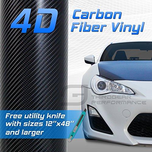 4D Black Carbon Fiber Twill Vinyl Wrap Roll Bubble Free Air Release (Fiber Stripe)