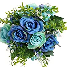 SOLEDI Artificial Flowers Fake Rose 12 Heads Lifelike Snow Mountain Rose For Wedding Home Bar Decor(Blue)