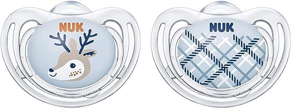 NUK Snow Freestyle Chupete, silicona, forma adaptada a la mandíbula, 0 – 6 meses, 2 unidades, con caja para chupete, cierre/cuadros Ciervo y cuadros. Talla:6-18 meses: Amazon.es: Bebé