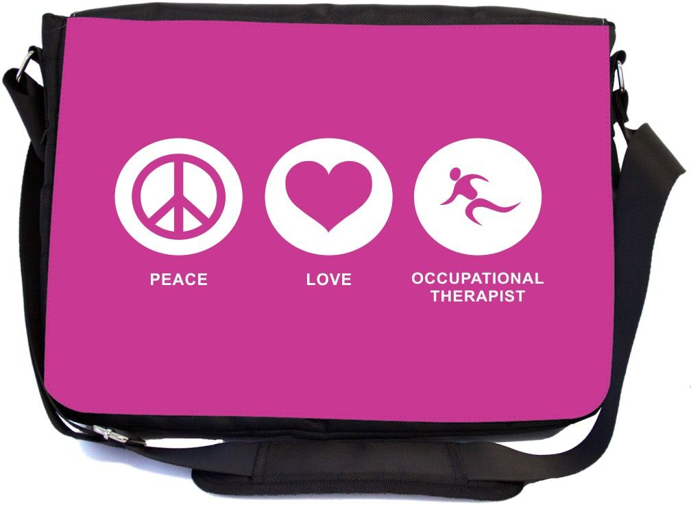 Rikki Knight Peace Love Occupational Therapist Rose Pink Color Design Multifunctional Messenger Bag - School Bag - Laptop Bag - Includes Matching Compact Mirror by Rikki Knight (Image #1)