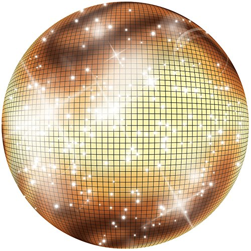 2 ft. 11 in. 70s Seventies Studio 18 Gold Disco Ball Standup Photo Booth Prop Background Backdrop Party Decoration Decor Scene Setter Cardboard - Setters Scene Disco