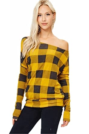 b8ee0b1297ca96 Red White Mustard Buffalo Plaid Checkered Off Shoulder Top Shirt Sweater  Knit Casual (Mustard