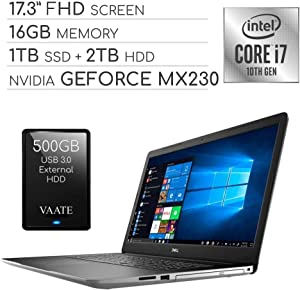 "Dell Inspiron 2020 Premium 17.3"" FHD Laptop Computer, 4-Core Intel i7-1065G7 1.3 GHz, 16GB RAM, 1TB SSD + 2TB HDD, 2GB NVIDIA GeForce MX230, DVD, Webcam, Wi-Fi, HDMI, Windows 10 / 500GB External HDD"