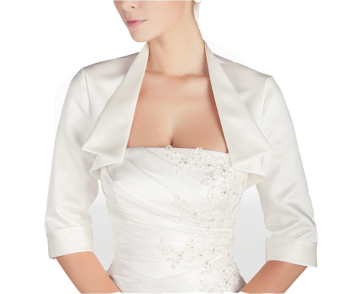 GEORGE BRIDE Women's Short Sleeves Wedding Bridal Shawls Jackets (L, Ivory)