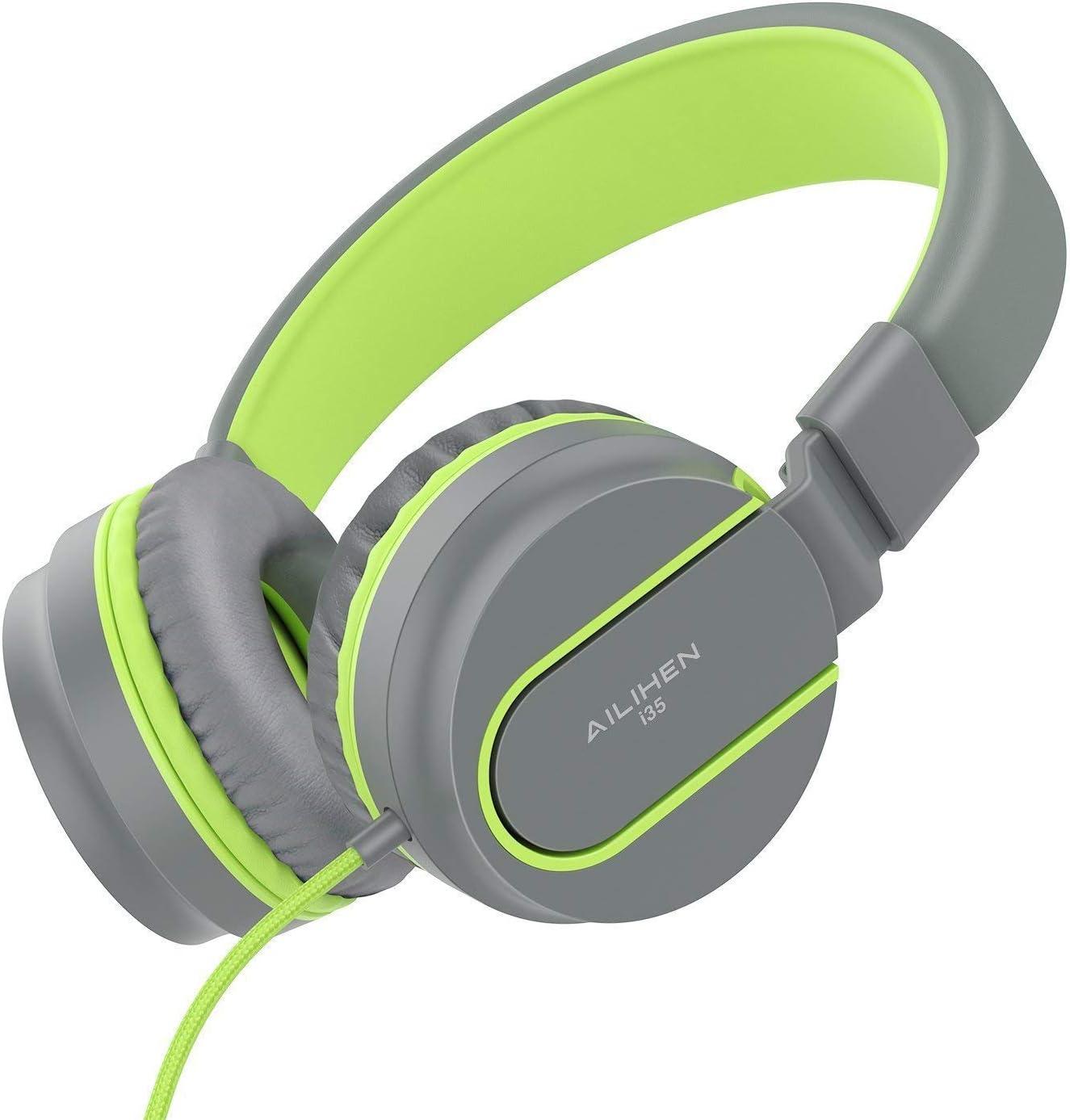 AILIHEN I35 Auriculares para niños con Volumen de micrófono Limitado Niños Niñas Niños Auriculares con Cable portátiles Ligeros y Plegables de 3,5 mm para Aviones Escolares de Viaje Teléfonos móviles