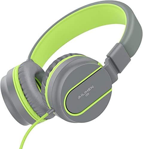 AILIHEN I35 Kid Headphones with Microphone Volume Limited Children Girls Boys Teen Lightweight Foldable Portable Wired Headset for School Airplane Travel Cellphones Tablets Smartphones Grey Green