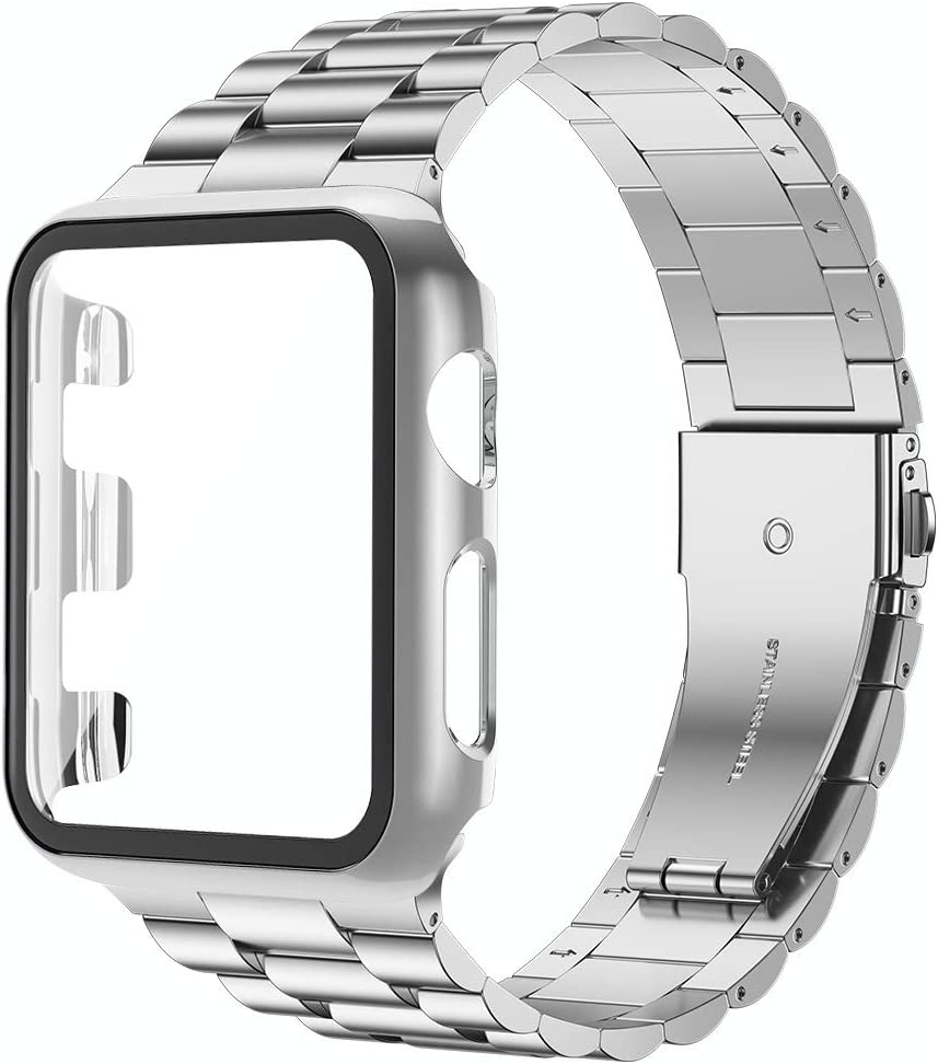 baozai Compatible with Apple Watch Band 44mm 42mm 40mm 38mm with Case, Stainless Steel Band and Full Cover with iWatch Glass Screen Protector for Series 6/5/4/3/2/1/SE (Silver Band + Case, 44mm)