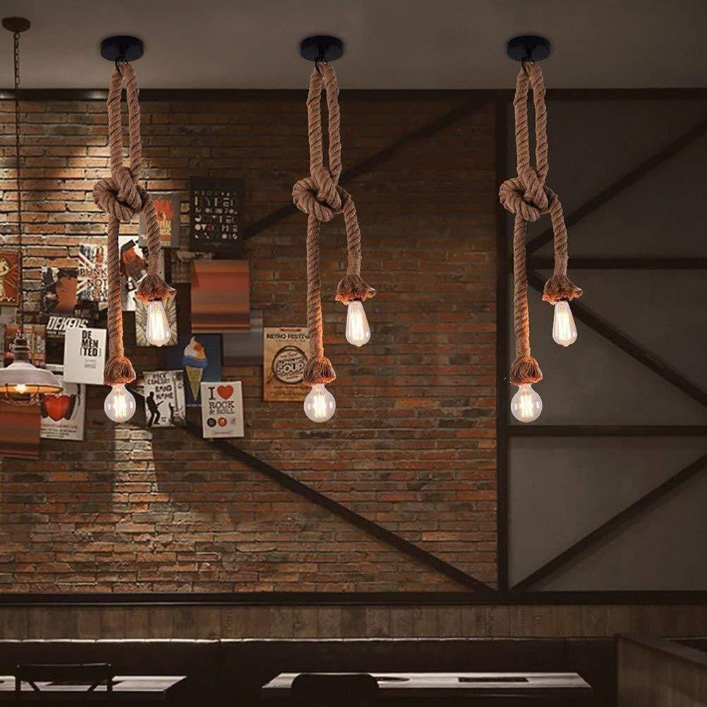 Vintage Pendant Light Industrial Hemp Rope Chandelier Retro Style Ceiling Lamp Edison E27 Base Cord Light Tru-Decor
