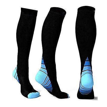 70a12f80be Men Women Compression Socks, Jushye Athletic Socks Fit for Running Socks  Travel Boost Stamina Football Soccer Socks (Blue, L) : Office Products