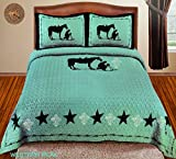 Western Peak Praying Cowboy Bling Rhinestone Cross Horse Barb Wire Star Cabin Lodge Luxury Quilt Bedspread Coverlet Comforter 3 Piece Beige Brown Set [Limited Premium Edition] (King, Turquoise)