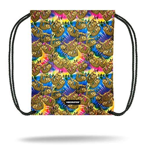 Vibedration Drawstring Backpack | Casual Daypack, Gym Bag, Sports Rucksack for Men & Women | Festival Fashion, Rave & Travel Accessories (Tie-Dye Sloth)