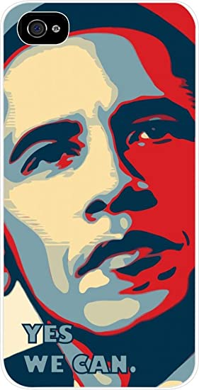 Amazon Com President Barack Obama Yes We Can Digital Art Iphone 4 Plastic White Case Compatible With Iphone 4 4s