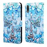 EnjoyCase Wallet Case for Galaxy M10,Colorful Tower Butterfly Pattern Pu Leather Bookstyle Card Slots Magnetic Flip Cover With Hand Strap for Samsung Galaxy M10