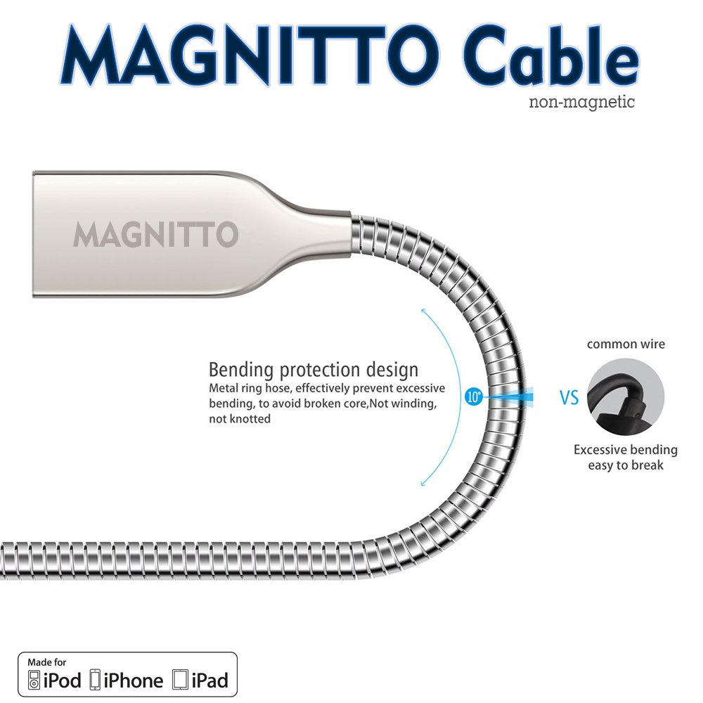 Iphone Cable Magnitto 3ft 24amp Metal Braided Cord Ipod Charger Wiring Diagram Lightning Certified To Usb Charging Tangle Free Premium Durable For X 8